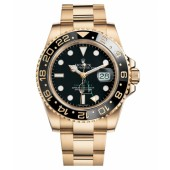 Fake Rolex GMT Master II Yellow Gold Black Dial 116718 BK.