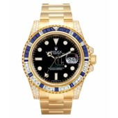 Fake Rolex GMT Master II Yellow Gold Black Dial 116758 SA.