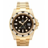 Fake Rolex GMT Master II Yellow Gold Black Dial 116758 SANR.