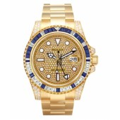 Fake Rolex GMT Master II Yellow Gold Pave diamond dial 116758 SAPAVE.