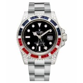 Fake Rolex GMT Master II White Gold Black Dial 116759 SARU.