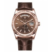 Fake Rolex Day Date Pink Gold Brown Dial 118135 CHL.