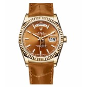 Fake Rolex Day Date Yellow Gold Cognac Dial 118138 COL.