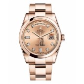 Fake Rolex Day Date Pink Gold Diamond Dial 118205 CHDO.