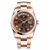 Fake Rolex Day Date Pink Gold Brown Dial 118205 CHODRO.
