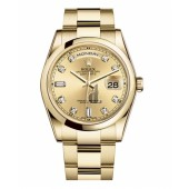 Fake Rolex Day Date Yellow Gold Champagne Dial 118208 CHDO.