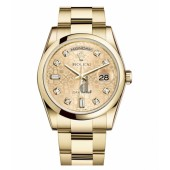 Fake Rolex Day Date Yellow Gold Champagne jubilee Dial 118208 CHJDO.