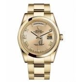 Fake Rolex Day Date Yellow Gold Champagne Dial 118208 CHRO.