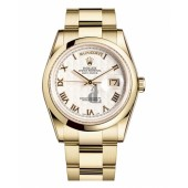 Fake Rolex Day Date Yellow Gold Ivory pyramid Dial 118208 IPRO.