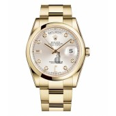 Fake Rolex Day Date Yellow Gold Silver Dial 118208 SDO.