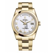 Fake Rolex Day Date Yellow Gold White Dial 118208 WRO.