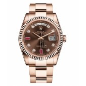Fake Rolex Day Date Pink Gold Brown dial 118235 CHODRO.