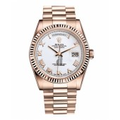 Fake Rolex Day Date Pink Gold White dial 118235 WRP.