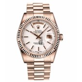 Fake Rolex Day Date Pink Gold White dial 118235 WSP.