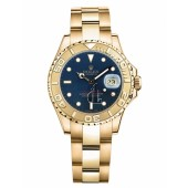 Fake Rolex Yacht-Master Yellow Gold Bluel dial Ladies Watch 169628 B.