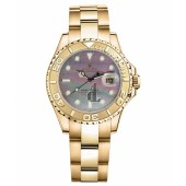 Fake Rolex Yacht-Master Yellow Gold MOP dial Ladies Watch 169628 DKM.