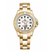 Fake Rolex Yacht-Master Yellow Gold White dial Ladies Watch 169628 W.