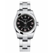 Fake Rolex Oyster Perpetual No Date Stainless Steel Black dial Ladies watch 176200 BKAPIO.