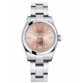 Fake Rolex Oyster Perpetual No Date Stainless Steel Pink dial Ladies watch 176200 PAO.