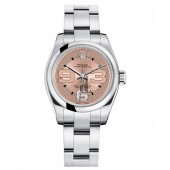 Fake Rolex Oyster Perpetual No Date Stainless Steel Pink dial Ladies watch 176200 PMAO.
