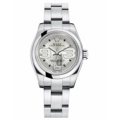 Fake Rolex Oyster Perpetual No Date Stainless Steel Silver dial Ladies watch 176200 SMAO.