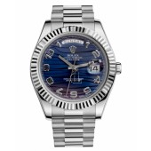 Fake Rolex Day Date II President White Gold Blue wave dial 218239 BLWAP.