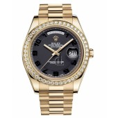 Fake Rolex Day Date II President Yellow Gold Black concentric dial 218348 BKCAP.