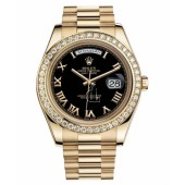 Fake Rolex Day Date II President Yellow Gold Black dial 218348 BKRP.