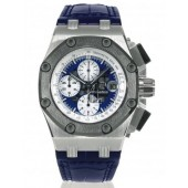 Replica Audemars Piguet Blue Dial Crocodile Leather Strap Men's Chronograph Watch