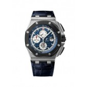 Replica Audemars Piguet Royal Oak Offshore Blue Alligator Leather Men's Watch 0