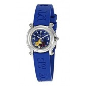 Imitation Chopard Happy Beach Jeweled Fish Steel Blue Mini Ladies Watch