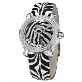 Chopard Happy Sport Zebra Special Edition In Steel With White Gold Diamond Bezel 278475-2003