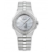 Replica Chopard Alpine Eagle 36mm Lucent Steel Diamond Bezel Mother of Pearl Dial