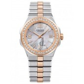 Replica Chopard Alpine Eagle 36mm Steel and Rose Gold Diamond Bezel Mother of Pearl Dial Watch