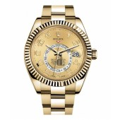 Fake Rolex Sky Dweller Yellow Gold Watch 326938.