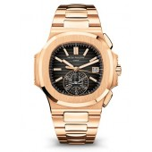 Patek Philippe Nautilus Black Dial 18kt Rose Gold Chronograph Automatic 5980/1R-001