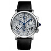 AAA quality Rotonde de Cartier Perpetual Calendar Chronograph 18 kt White Gold Mens Watch W1556226  replica.