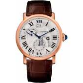 AAA quality Rotonde de Cartier Silver Dial GMT 18kt Pink Gold Mens Watch W1556240 replica.