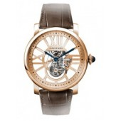 AAA quality Rotonde de Cartier Flying Tourbillon Skeleton Dial Men's Watch W1580046 replica.