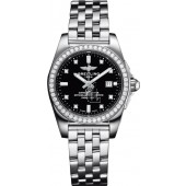 Breitling Galactic Stainless Steel Black Dial Ladies A7234853Watch fake