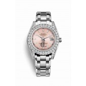 Rolex Pearlmaster 34 white gold lugs set diamonds 81159 Pink Dial