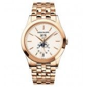 Fake Patek Philippe Annual Calendar Silver Dial 18kt Rose Gold Men's Watch 5396-1R-010