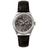 Fake Patek Philippe Annual Calender Moonphase Black Dial Black Leather Automatic Men's Watch 5056P