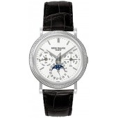 Fake Patek Philippe Annual Calender Moonphase White Dial Black Leather Stainless Steel Automatic Men's Watch 5039G