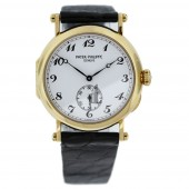 Fake Patek Philippe Calatrava White Dial Black Leather Strap Ladies Watch 3960J