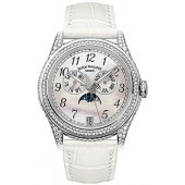 Fake Patek Philippe Complicated 18kt White Gold Moon Phase Diamond Ladies Watch 4937G