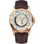 Fake Patek Philippe Complications Mechanical Silver Dial Leather Men's Watch 5130R-018
