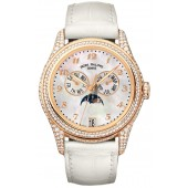 Fake Patek Philippe Complications Mother of Pearl 18kt Rose Gold Diamond Leather Ladies Watch 4937R