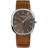 Fake Patek Philippe Golden Ellipse Brown Dial Brown Leather Men's Watch 3738/100G-012
