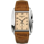 Fake Patek Philippe Gondolo Manua Vintage Rose Dial Leather Men's Watch 5124G-001